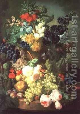 Still Life Mixed Flowers and Fruit with Birds Nest by Jan van Os - Reproduction Oil Painting