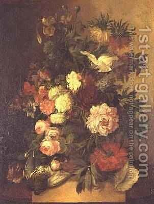 Peonies, roses and other flowers in an urn by Jan van Os - Reproduction Oil Painting