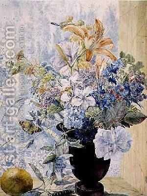 Vase of mixed flowers in a window by Jan van Os - Reproduction Oil Painting