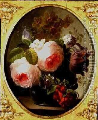 Roses and Other Flowers in a Vase by Jan van Os - Reproduction Oil Painting