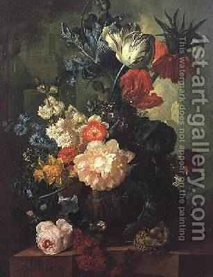 Roses, Tulips, Carnations and other flowers in a sculptured urn by Jan van Os - Reproduction Oil Painting