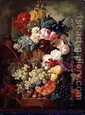 Roses, an Iris and a Poppy by Jan van Os - Reproduction Oil Painting
