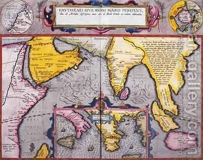 Map of Asia with a superimposed map of Europe, from Theatrum orbis terrarum, 1603 by Abraham Ortelius - Reproduction Oil Painting