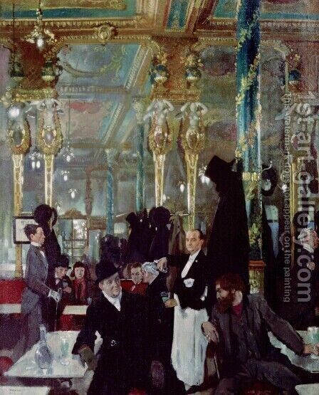 Cafe Royal, London, 1912 by Sir William Newenham Montague Orpen - Reproduction Oil Painting