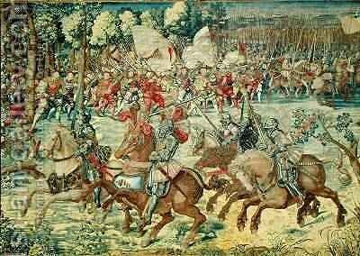 The Battle of Pavia The Advance of Charles V 1500-58 by (after) Orley, Bernard van - Reproduction Oil Painting