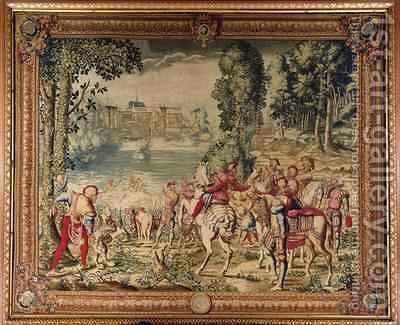 The Hunts of Maximilian Libra The Stag Hunt Caught in the River by (after) Orley, Bernard van - Reproduction Oil Painting