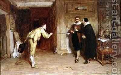 The Challenge A Puritans Struggle between Honour and Conscience 1864 by Sir William Quiller-Orchardson - Reproduction Oil Painting