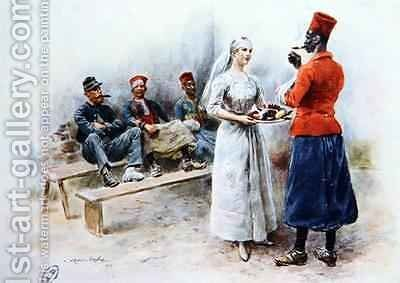 The Favourite Nurse with Zouaves and soldiers during the First World War 1915 by Maurice Henri Orange - Reproduction Oil Painting