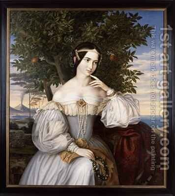 Marriage portrait of Charlotte von Rothschild 1836 by Moritz Daniel Oppenheim - Reproduction Oil Painting