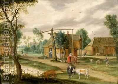 A village landscape with a woman drawing water from a well by Isaak van Oosten - Reproduction Oil Painting