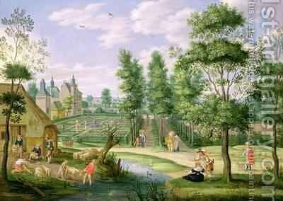 Figures in the Grounds of a Country House by Isaak van Oosten - Reproduction Oil Painting