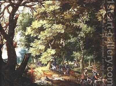 A Wooded Landscape with Hunters and Hounds by Isaak van Oosten - Reproduction Oil Painting