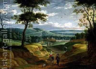 Extensive Landscape with Travellers on a Path by Isaak van Oosten - Reproduction Oil Painting