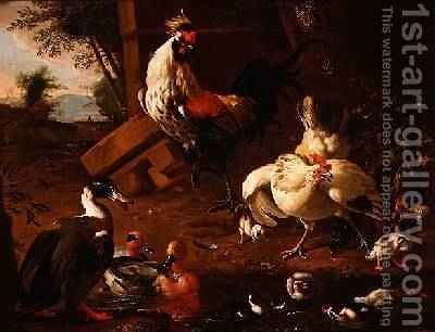 Farmyard Fowl by Adriaen van Oolen - Reproduction Oil Painting