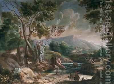 Landscape with Passersby on Donkeys by Crescenzio Onofri - Reproduction Oil Painting