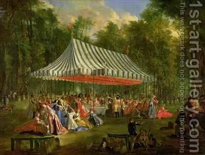 Festival Given by the Prince of Conti to the Prince of BrunswickLunebourg at lIsleAdam 1766 by Michel-Barthelemy Ollivier - Reproduction Oil Painting
