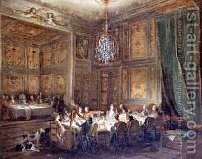 Dinner of the Prince of Conti 1717-76 in the Temple 1766 by Michel-Barthelemy Ollivier - Reproduction Oil Painting