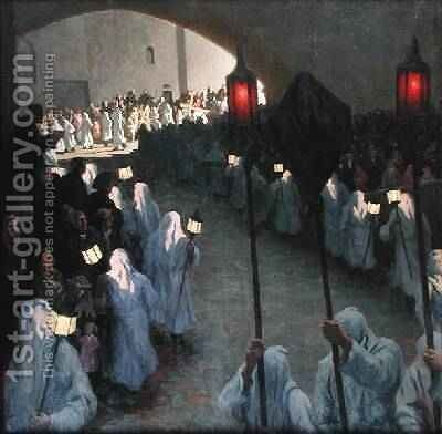 Procession of the Penitents Blancs at PuyenVelay on Good Friday by Aime Olivier - Reproduction Oil Painting
