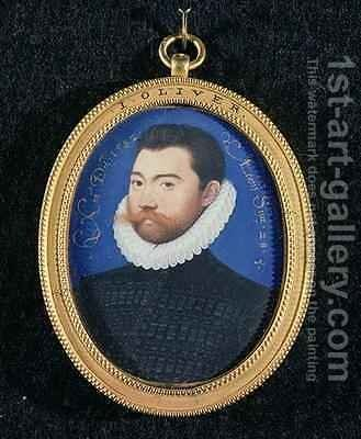 Portrait of an unknown man aged 28 1582 by Isaac Oliver - Reproduction Oil Painting