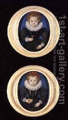 Two Little girls 1590 by Isaac Oliver - Reproduction Oil Painting