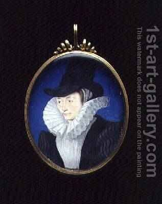 Portrait miniature of an unknown lady 1590 by Isaac Oliver - Reproduction Oil Painting