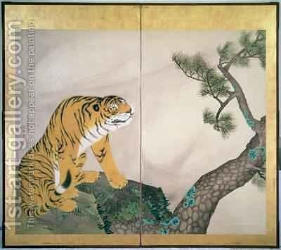 Tiger Screen Japanese 1781 by Maruyama Okyo - Reproduction Oil Painting