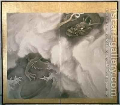 Dragon Screen Japanese 1781 by Maruyama Okyo - Reproduction Oil Painting