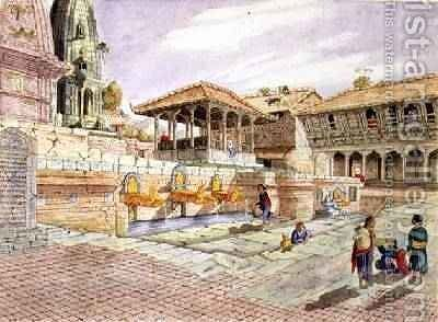 Nepalese People at the Fountains in Patan Murdi Nepal 1853 by Dr. H.A. Oldfield - Reproduction Oil Painting