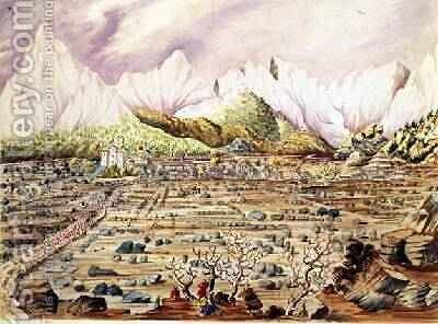 Invasion of Tibet by the Nepalese in the Town of Keerung off the left or eastern bank of the BooriGurudee River May 1855 by Dr. H.A. Oldfield - Reproduction Oil Painting