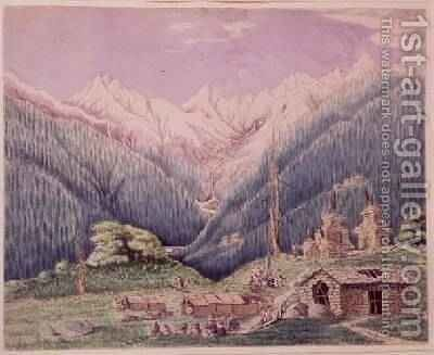 The Trisuli River at its Source in the Lakes of Gosainkund sketched from the Tibetan village of Dimchali 1860 by Dr. H.A. Oldfield - Reproduction Oil Painting