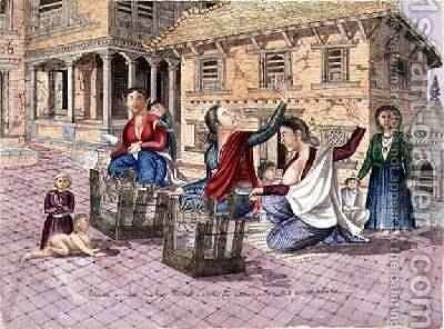 Newar women making thread with the instrument called a chirkaha Nepal 1854 by Dr. H.A. Oldfield - Reproduction Oil Painting