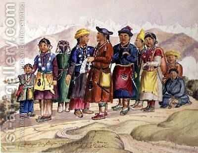 Bhotias Tibetans from Lhasa the capital of the Province of Utsang Central Tibet 1852-60 by Dr. H.A. Oldfield - Reproduction Oil Painting