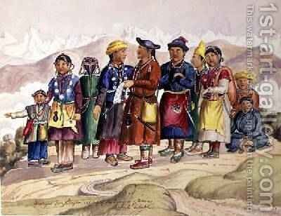 Bhotias Tibetans from Lhasa the capital of the Province of Utsang Central Tibet 1852-60 2 by Dr. H.A. Oldfield - Reproduction Oil Painting