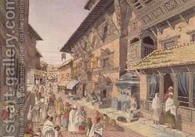 Nepalese Bhadgoari People in a Street beside a Shrine in Nepal Bhaduon 1853 by Dr. H.A. Oldfield - Reproduction Oil Painting