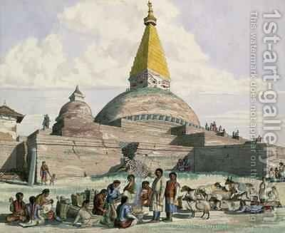 Tibetans and their Sheep at the Stupa at Bodnath near Kathmandu 1852-60 by Dr. H.A. Oldfield - Reproduction Oil Painting