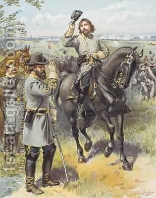 General Pickett taking the order to charge from General Longstreet Battle of Gettysburg 3rd July 1863 by Henry Alexander Ogden - Reproduction Oil Painting