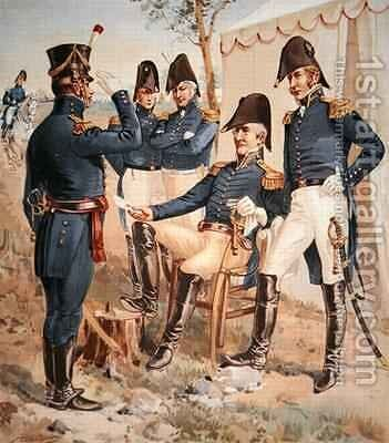 General Andrew Jackson sitting with his staff officers during the War of 1812 by Henry Alexander Ogden - Reproduction Oil Painting