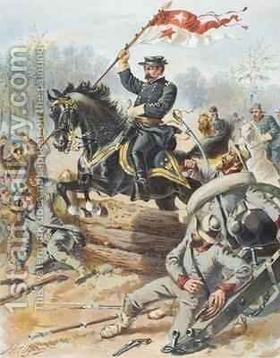 General Sheriden at the Battle of Five Forks Virginia 1st April 1865 by Henry Alexander Ogden - Reproduction Oil Painting