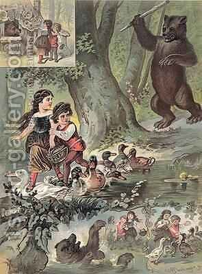 Hansel and Gretel in the Forest 1880 by Carl Offterdinger - Reproduction Oil Painting