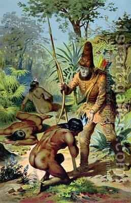 Robinson Crusoe and Man Friday 1880 by Carl Offterdinger - Reproduction Oil Painting