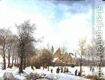 Skaters in a Winter Landscape 1830 by Anthony Jacob Offermans - Reproduction Oil Painting