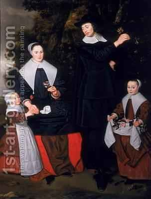 A Gentleman with his Wife and two Children by Hendrick ten Oever - Reproduction Oil Painting