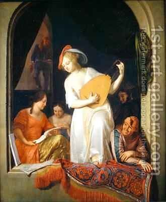 Musicians in a niche 1681 by Jacob Ochtervelt - Reproduction Oil Painting