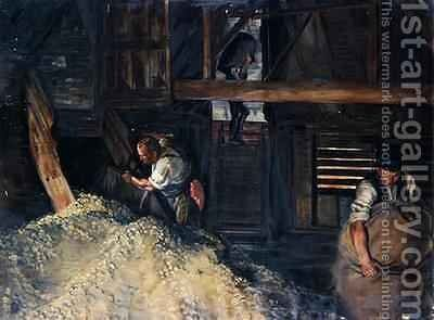 Workers Workmen Bagging Hops 1904 by Harold Oakley - Reproduction Oil Painting