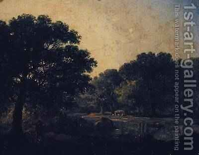 Wooded river landscape with a figure in a boat by James Arthur O'Connor - Reproduction Oil Painting