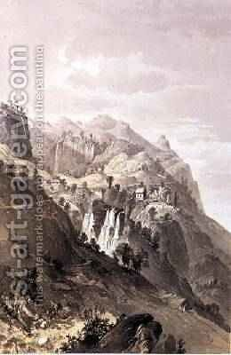 The Falls of Rangobodde Ceylon 1864 by Captain C. O'Brien - Reproduction Oil Painting
