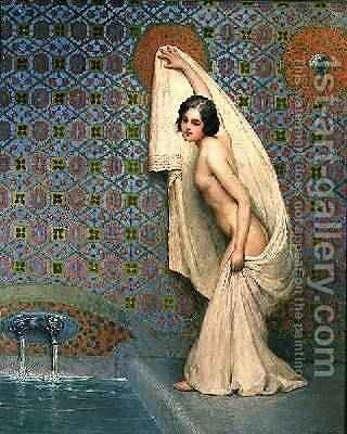 Taking a Bath by Carl Nys - Reproduction Oil Painting
