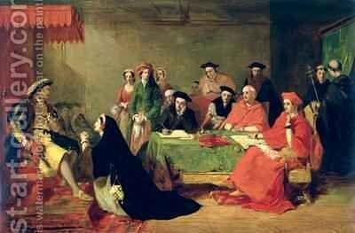 The Trial of Catherine of Aragon 1485-1536 by Henry Nelson O'Neil - Reproduction Oil Painting