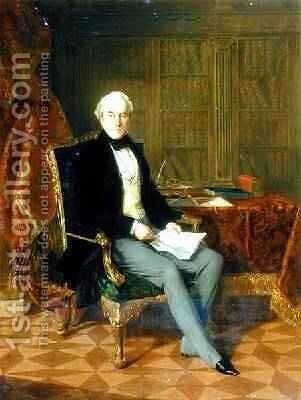 Portrait of Henry Pelham-Clinton Holding a Document in His Study 1850 by Henry Nelson O'Neil - Reproduction Oil Painting