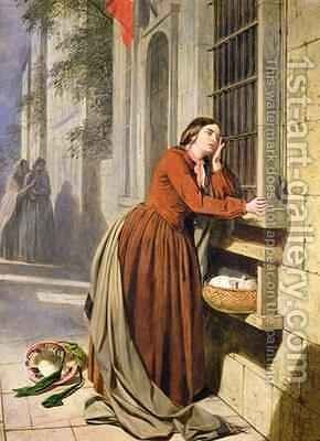 Mother Depositing Her Child in the Foundling Hospital in Paris 1855-60 by Henry Nelson O'Neil - Reproduction Oil Painting